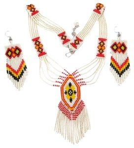 Handmade HANDMADE BEADED CREAM RED NECKLACE & EARRINGS