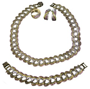 Heidi Daus Magnificent Swirl Curb Link Necklace & Bracelet Set with Classic Kiss Earrings & Ring