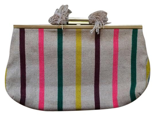 J.Crew Canvas Tan/Green/Pink/Yellow/Purple Clutch