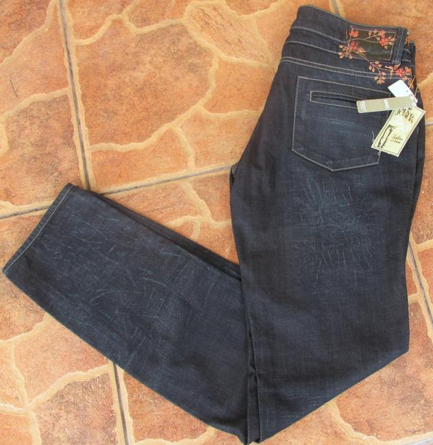 Mango New With Tags Slim Fit Washed Skinny Jeans-Dark Rinse