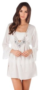 Rhona Sutton short dress White Kaftan Cover Up Swimsuit Cover Up Cotton Embroidered on Tradesy