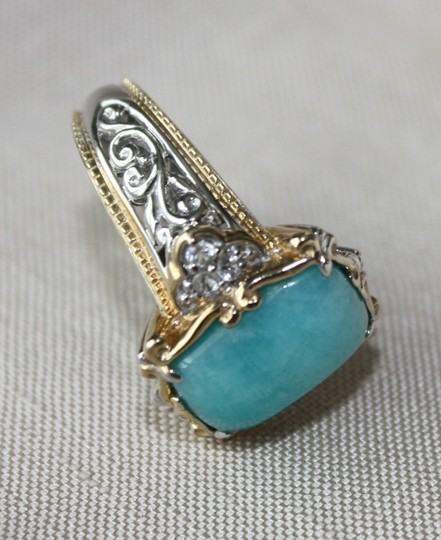 Michael Valitutti - Gems en Vogue Peruvian Amazonite/White Sapphire Ring, Size 6, with Matching Earrings