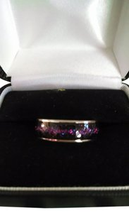 NEW! Stainless Steel Enamel Purple Galaxy Stardust Band Ring