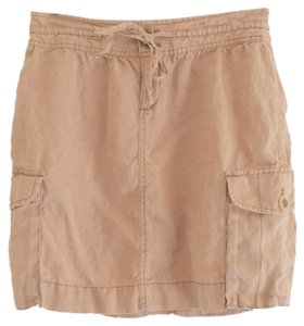 Ann Taylor LOFT Casual Linen Summer Short Mini Skirt Beige/Blush Neutral