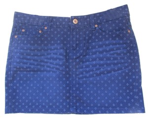 H&M Mini Denim Floralm New Mini Skirt blue