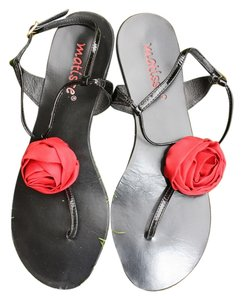 Matisse Black Patent with a Red Rose Sandals