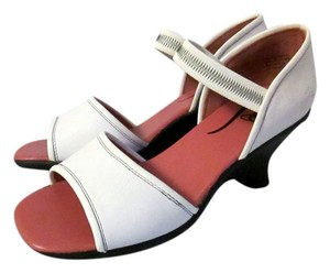 John Fluevog Wedge Open Toe Leather White Sandals
