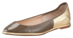 Diane von Furstenberg Leather Patent Leather taupe and gold Flats