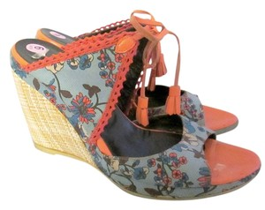 Coclico Wedge Fabric Floral Italian Blue Wedges
