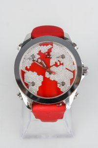 Jacob & Co. Jacob & Co Five Time Zone JCM47SR Diamond Pave Red Enamel 40mm Watch