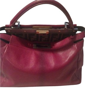 Fendi Satchel in Fushia/ Magenta With Brown Logo Interior