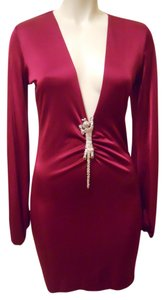 Savee Couture Sexy Low Cut Red Dress