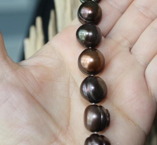 "Lasting Impressions Natural Baroque Chocolate Pearl 17"" Necklace and Matching Drop Earrings"