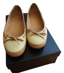 Chanel Canvas Leather Strips Beige/Yellow Flats
