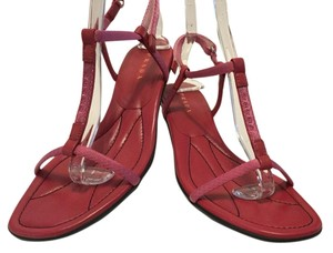 Prada Italian E40 Pink leather & fabric Sandals