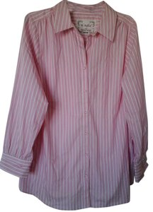 Avenue Button Down Shirt Pink and white pinstripe