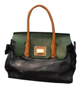 Roberta Leather Emerald Bow Detailing Silver Hardware Classic Vintage Italian Made Satchel in Navy & Green