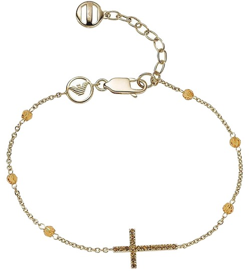 Emporio Armani Emporio Armani beaded bracelet EG3014 gold plated silver crystal cross