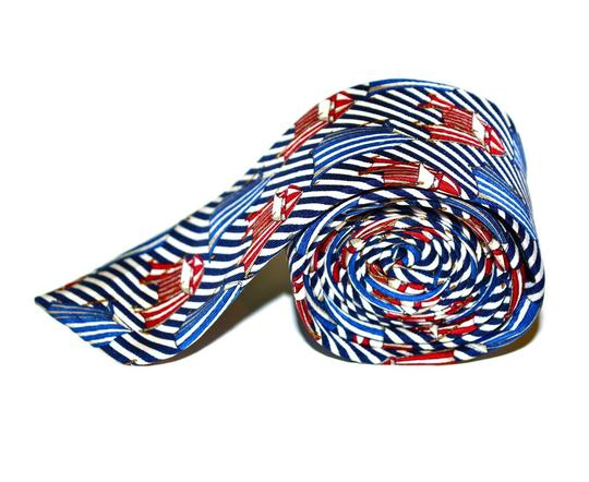 Dior CHRISTIAN DIOR Baroque Tent Striped Navy & White Skinny SILK Necktie Tie