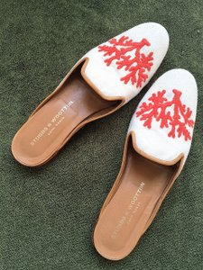 Stubbs & Wootton Icon Leather Linen Slide Custom Resort Handmade Low Heel Preppy Palm Beach Soft Comfortable ivory with orange embroidery Mules