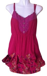 Free People Polka Dots Floral Crochet Lined Spaghetti Straps Tunic