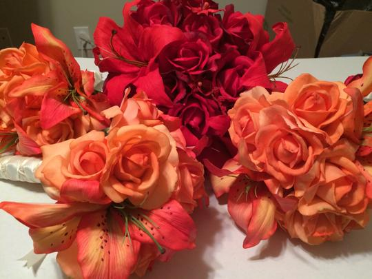 Red Orange Bride Rose Bouquet with 3 Bridesmaid Bouquets Other