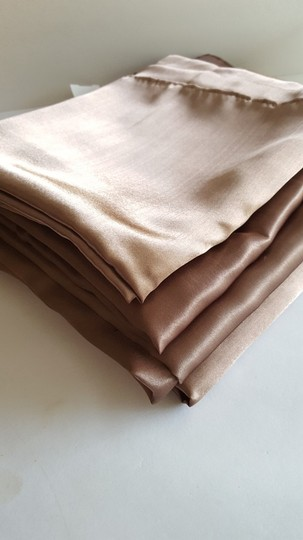 "Four Latte Brown Satin Overlays 72"" Squares"