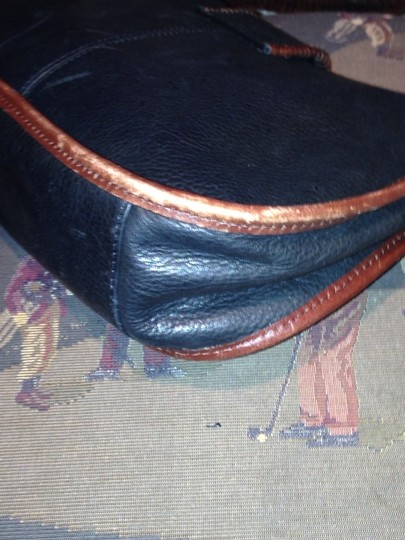 Fossil Satchel in Black With Brown Piping