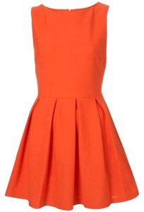 Topshop short dress Orange Structured Skater Sleeveless Pleated Vibrant on Tradesy