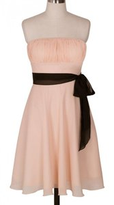 Peach Chiffon Pleated Bust W/ Sash Dress
