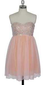 Peach Chiffon Crystal Beads Bodice Sweetheart Short Formal Bridesmaid/Mob Dress Size 6 (S)