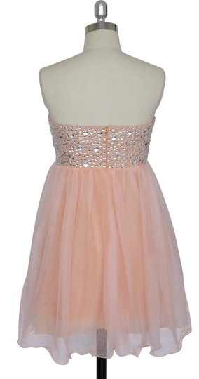 Peach Chiffon Crystal Beads Bodice Sweetheart Short Formal Dress Size 6 (S)