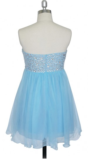 Blue Chiffon Crystal Beads Bodice Sweetheart Short Feminine Bridesmaid/Mob Dress Size 6 (S)