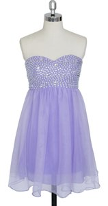 Purple Chiffon Lavender Crystal Beads Bodice Sweetheart Short Destination Bridesmaid/Mob Dress Size 6 (S)