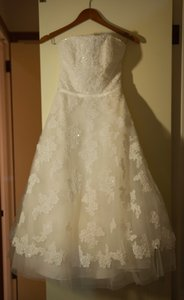 Galina White/Cream Tea Length Retro Wedding Dress Size 6 (S)