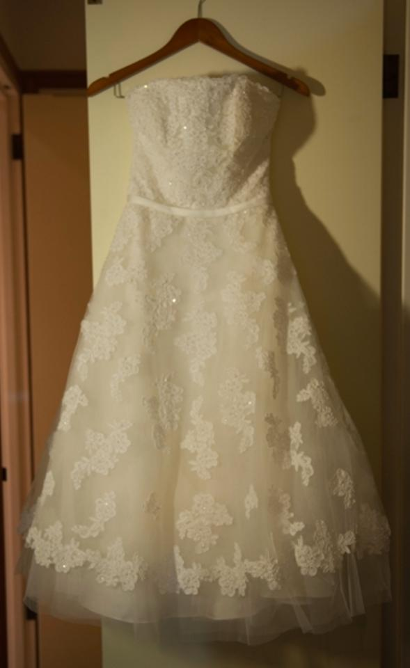 Galina White/Cream Tea Length Retro Wedding Dress Size 6 (S) - Tradesy