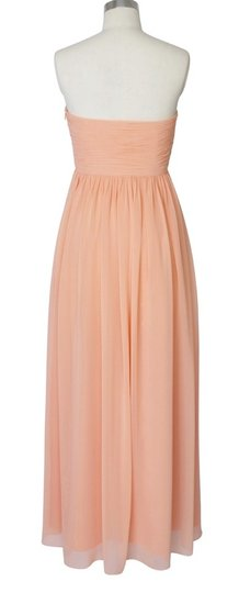 Peach Chiffon Strapless Sweetheart Long Formal Bridesmaid/Mob Dress Size 6 (S)