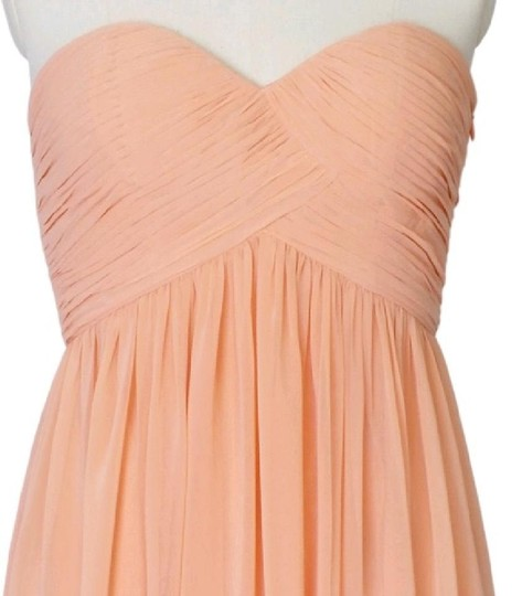 Peach Chiffon Strapless Sweetheart Formal Bridesmaid/Mob Dress Size 6 (S)