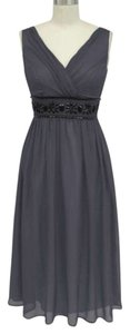 Gray Chiffon Goddess Beaded Waist Formal Bridesmaid/Mob Dress Size 12 (L)