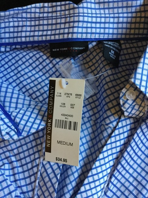 New York & Company Button Down Shirt Blue & White