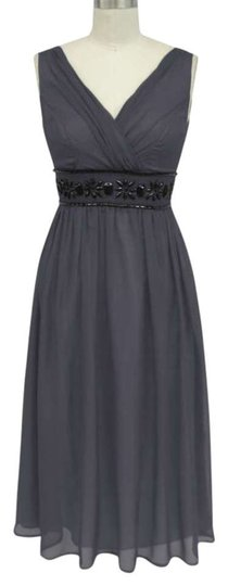 Gray Chiffon Goddess Beaded Waist Formal Bridesmaid/Mob Dress Size 10 (M)