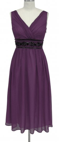 Purple Chiffon Goddess Beaded Waist Formal Bridesmaid/Mob Dress Size 16 (XL, Plus 0x)
