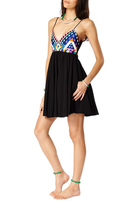 Mara Hoffman short dress Black Mini Embroidered Multi Color on Tradesy