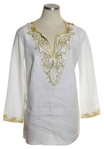 MICHAEL Michael Kors Split Neck Beaded 100% Linen Kaftan Top White