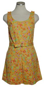 J.Crew short dress Yellow Orange Floral Tank Belted on Tradesy