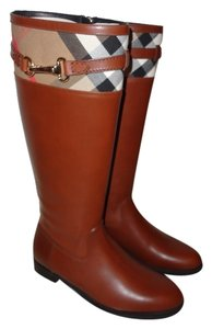 Burberry Riding Brown Dark Tan Boots