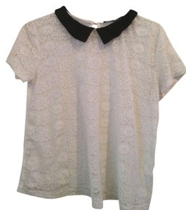 French Atmosphere Lace Peter Pan T Shirt White with Black Collar