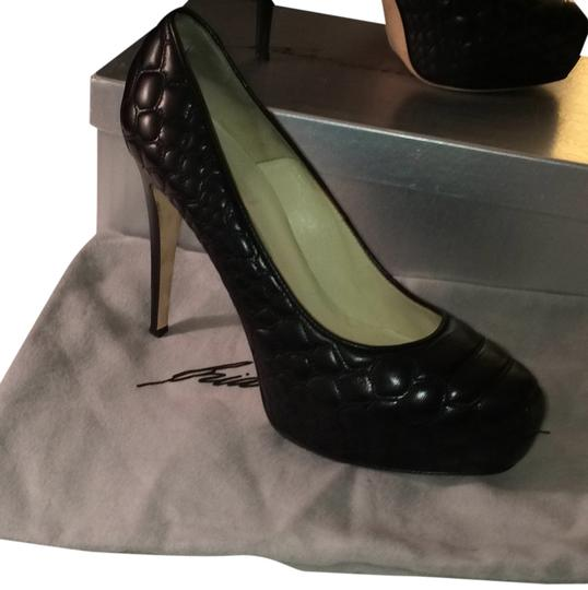 Brian Atwood Black leather Platforms