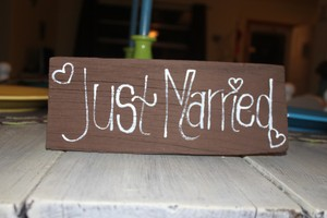 Double Sided Wooden Wedding Sign