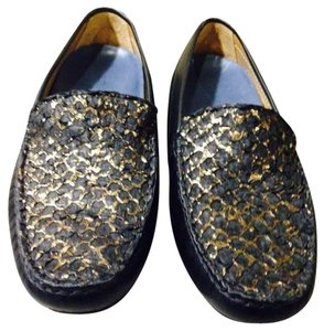 Lucchese Black/gold Leather Flats